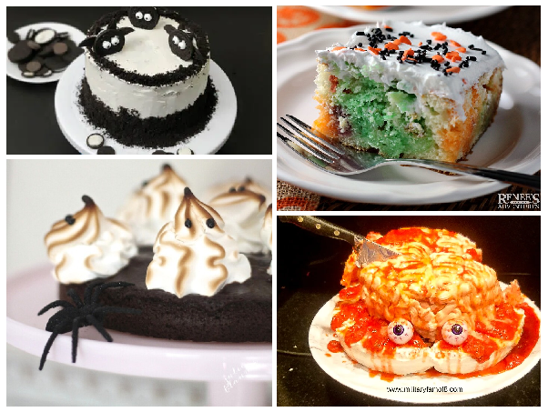 A collage showing four different cakes. Starting on the top left there's a cake, frosted with white frosting and layered with oreo crumbs. Around the top, there's a ring of crushed oreos around the top of the cake and oreo cookies decorated to look like bats are arranged on the top. To it's right, there's a multicolored cake --orange, green, and purple, frosted with white frosting and topped with sprinkles. Below that cake, is a cake which looks like a bleeding human grain with a knife sticking out of if. The last photo is to the left of that one and is a chocolate single layer of brownies, topped with meringue that's been toasted.