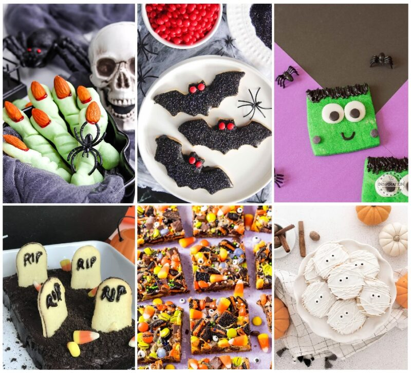 A collage containing six pictures of cookies and bars. The pictures on the top are three across. The left hand picture is green witches finger cookies with red nails. The center is plated black bats with red eye, the right sided picture is green Frankenstein cookies with large candy eyes. The bottom row has a cemetery made out of a pan of brownies with milano cookies decorated with RIP arranged in them. The center photo is bars decorated with candy corn and candy eyes. The bottom right photo is white cookies decorated to look like mummies.