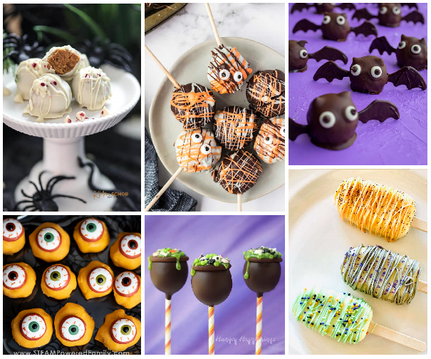 a six photo collage that contains photos of monstere eyes that are yellowish orange with white corneas and brown pupils on them, chocolate caldrons on top of sticks decorated with eyeballs and greenish frosting, chocolate truffles made to look like bats, orange, black, and white truffles on sticks decorated with candy eyes, and round truffles decorated to look like mummies--one with a bite missing revealing a pumpkin cheesecake filling. The final picture is of popsicle shaped cake pops decorated in orange and green and lined with frosting. These aren't popsicles, but cakesicles filled with the same filling as cake pops.