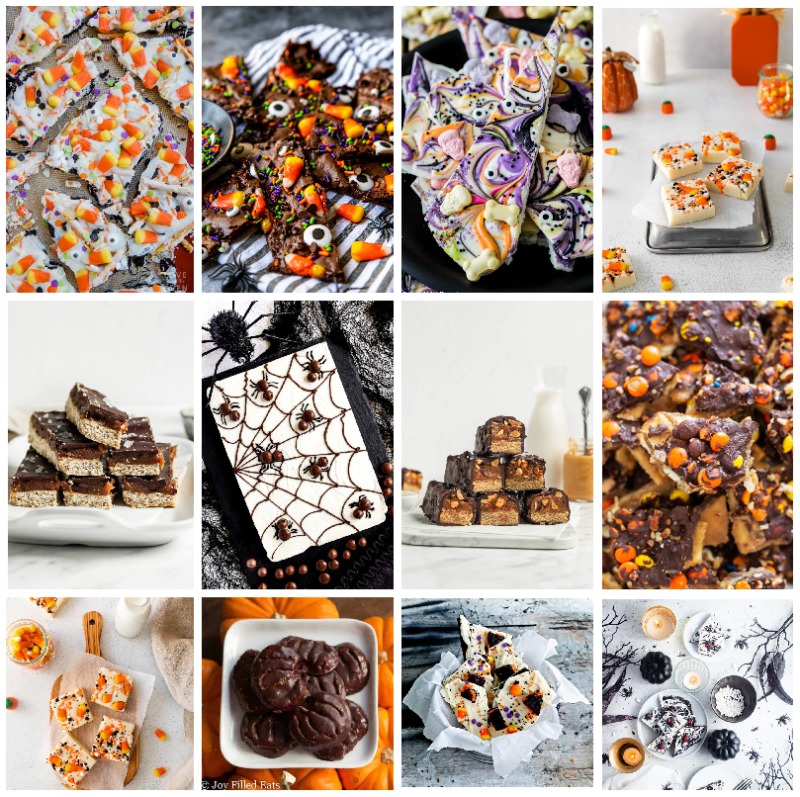 This is a 12 picture collage with the photos separated by white bars. In the top left corner is a picture of white chocolate bark embedded with candy corn. To the right is a chocolate bark that has candy corn and halloween sprinkles embedded in it. The next photo to the right is of a candy bark that's swirled with purple orange and black and contains sweet tart candies embedded in it. The final photo in the top row is of some white fudge with candy corn embedded in it. The second row begins with a stack of homemade twix bars with a cookie layer under a careamel and chocolate top. The next photo is a pan of white fudge with a choclate spider web drawn on it. Round choclate candies and piped legs create spiders on the web. The next photo is a stack of homemade snickers bars which are stacked in a pyramid and cut in half to expose the peanut, nougat, and caramel centers. The final photo in the second row is a choclate and toffee candy made on crackers. It's been broken into pieces exposing the cracker underneath. It's topped with orange, yellow, and purple Halloween sprinkles. The bottom row, from left to right is a photo of some candy corn encrusted fudge on a cutting board, a photo of pumpkins made of chocolate, a basket of some orange, black and white candy, and a tray of black and white candy bark.