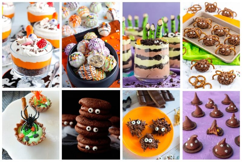A collage of 8 photos which include a photo of a chocolate Halloween Trifle. Halloween cookie dough balls, Halloween dirt cups, swam monsters, chocolate marshmallow cauldrons, chocolate eye ball cookies, and witches hats and pretzel spiders.