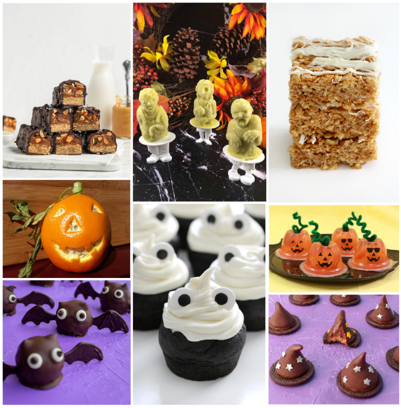 A collage of pictures which consist of homemade snickers bars that have been cut in half to show the peanuts, caramel, and nougat and matcha popsicles, pumpkin spice rice krispie treats, round balls of chocolate with eyes and wings resembling bats, chocolate cupcakes frosted wiht white frosting with dark eyes to resemble ghosts, there are small chocolate cookies with fudgie witches hats on top, and fruit cups decorated with black eyes, nose, and mouth to look like jack-o-lanterns.