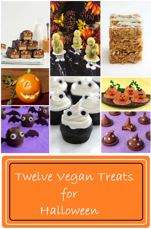 """A collage of pictures which consist of homemade snickers bars that have been cut in half to show the peanuts, caramel, and nougat and matcha popsicles, pumpkin spice rice krispie treats, round balls of chocolate with eyes and wings resembling bats, chocolate cupcakes frosted wiht white frosting with dark eyes to resemble ghosts, there are small chocolate cookies with fudgie witches hats on top, and fruit cups decorated with black eyes, nose, and mouth to look like jack-o-lanterns.  Below the collage is an orange banner with white lettering which reads """"Twelve Vegan Treats for Halloween"""""""